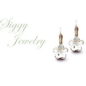 Swarovski Crystal Star Shape Drop Earrings Silver